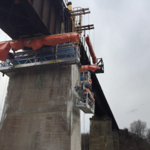 Railway bridge repair, design and install basket supports