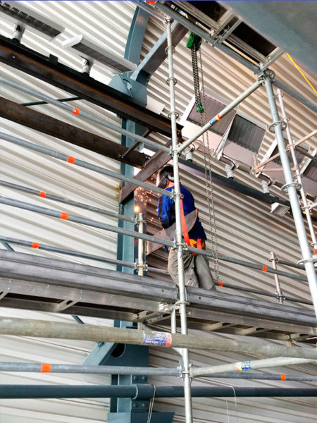 Welding supports for walkway at London aquatic centre