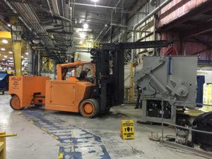 60,000 lb. forklift positioning grinder for installation